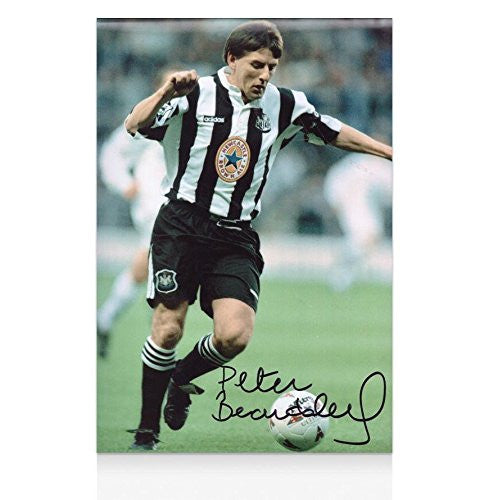 Signed Peter Beardsley Photo - Brown Ale - Autographed Soccer Photos