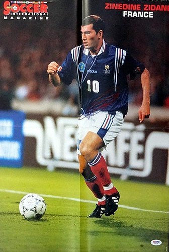 Zinedine Zidane Signed Magazine Poster Photograph France - PSA/DNA Authentication - Sports Memorabilia