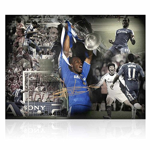 Didier Drogba Signed Chelsea Soccer Photo: Champions League Hero (Large)