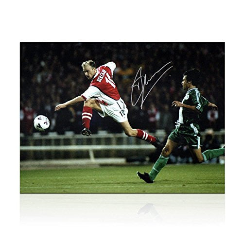 Dennis Bergkamp Signed Arsenal Photo: Shooting