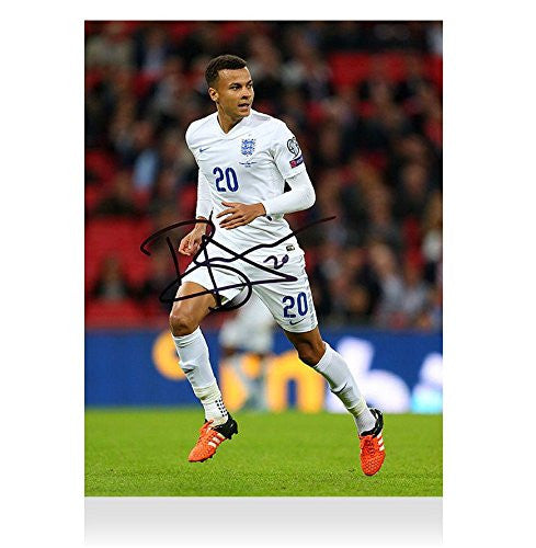Dele Alli Signed Autograph England Photo - Three Lions Autograph