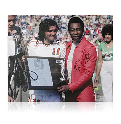 Pele hand signed photo - George Best with Pele
