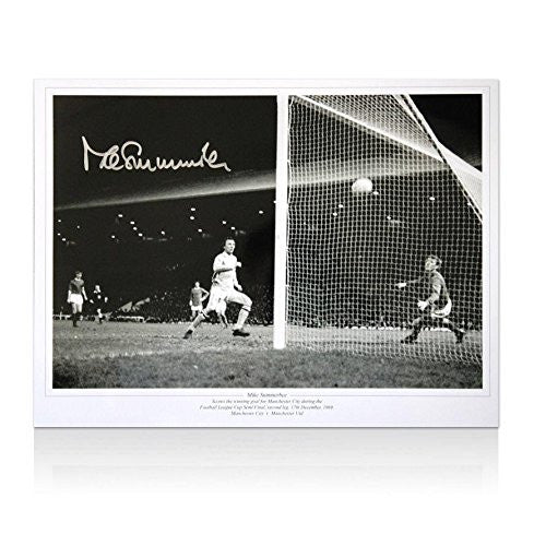 Autographed Mike Summerbee Photo - print 1969 League Cup semi final