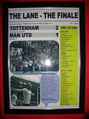 Tottenham Hotspur 2 Manchester United 1 - 2017 Premier League - The Lane Finale - framed print