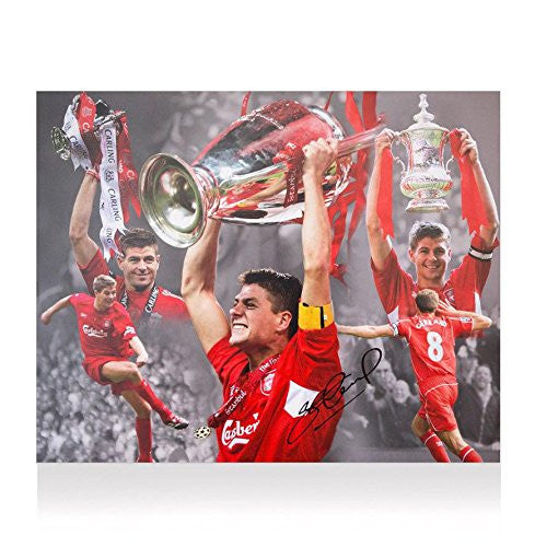 Steven Gerrard Signed Photo - 20x16 Career Montage Edit