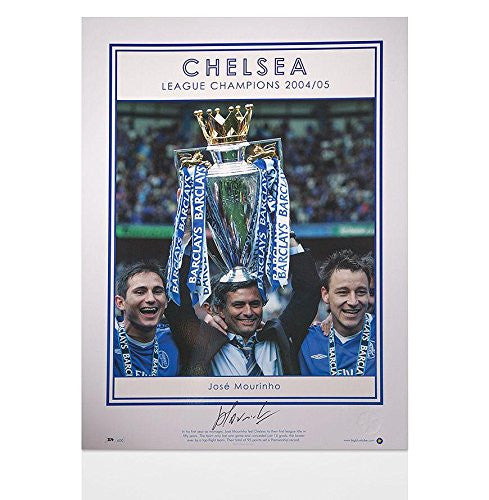 Autographed Jose Mourinho Photo - print Chelsea League Champions 2004 05 - Autographed Soccer Photos