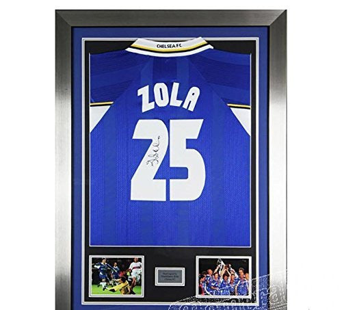 Signed Gianfranco Zola Chelsea FC Framed