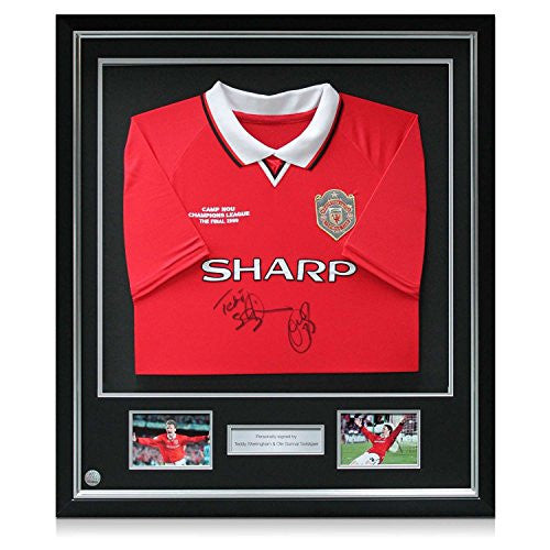 Deluxe Framed Teddy Sheringham & Ole Gunnar Solskjaer Signed 1999 Manchester United Champions League Soccer Jersey With Silver Inlay