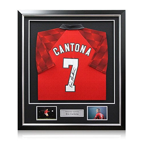Eric Cantona Signed Manchester United 1996-97 Umbro Jersey In Deluxe Black Frame With Silver Inlay