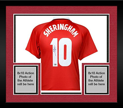 Framed Teddy Sheringham Manchester United Autographed Red Jersey - Fanatics Authentic Certified