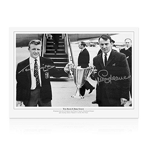 Terry Dyson and Jimmy Greaves signed Spurs print - Cup Winners' Cup