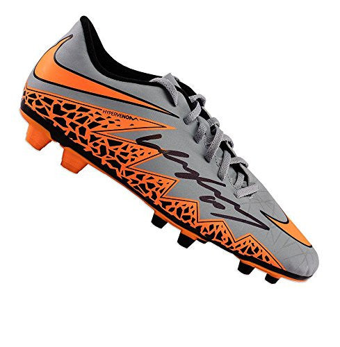 Wayne Rooney Signed Football Boot - Nike Hypervenom Wolf Grey & Orange