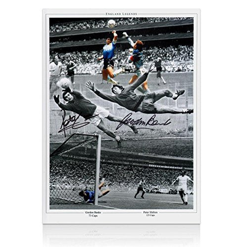 Gordon Banks and Peter Shilton Dual Signed Photo - England Legends Autograph