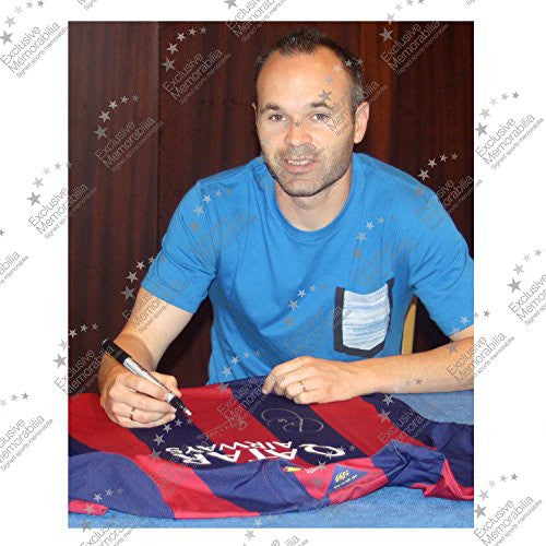 Xavi Hernandez And Andres Iniesta Signed 2014-15 Barcelona Soccer Jersey In Gift Box