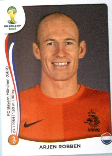 2014 Panini World Cup Soccer Sticker #140 Arjen Robben Mint