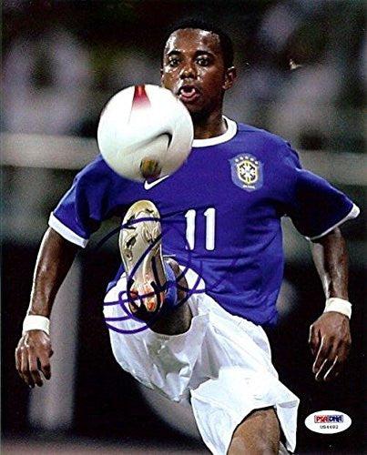 Signed Robinho Photograph - De Souza Authentic 8x10 - PSA/DNA Certified - Autographed Soccer Photos