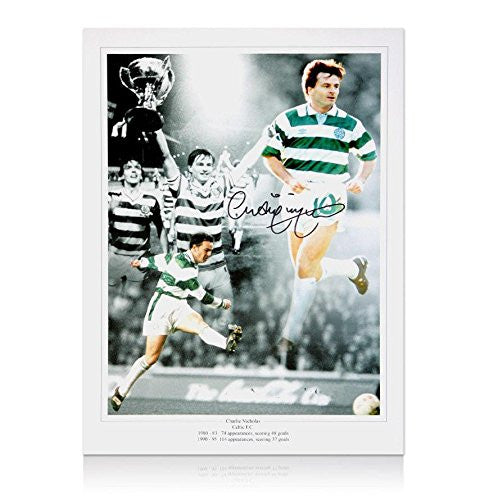 Celtic photo print monatage signed by Charlie Nicholas Autograph