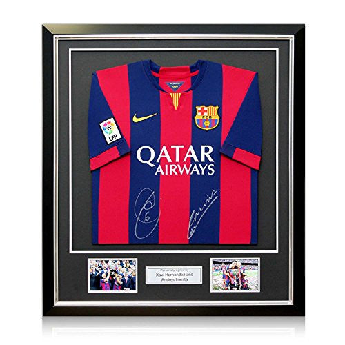 Xavi Hernandez And Andres Iniesta Signed 2014-15 Barcelona Football Shirt