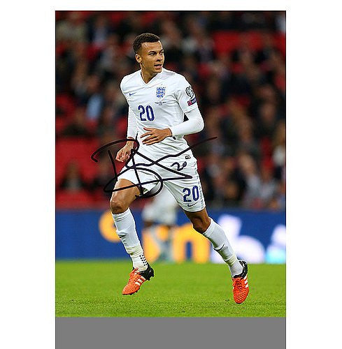 Dele Alli Autographed England 16x12 Photo: The Three Lions' Rising Star