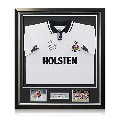 Deluxe Framed Paul Gascoigne Signed Tottenham Hotspur Shirt (With Silver Inlay)
