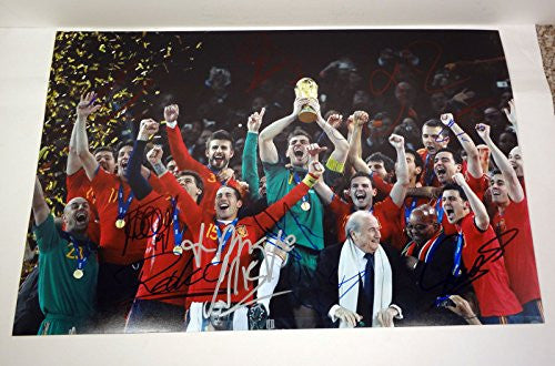 Spain Signed 2010 World Cup Champions 12x18 Photo COA