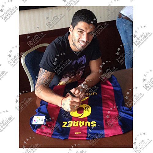 Luis Suarez Signed Barcelona 2014-15 In Deluxe Frame With Silver Inlay | Autographed Sports Memorabilia