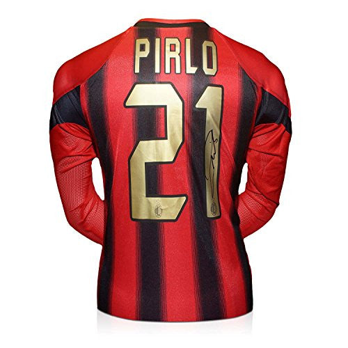 Andrea Pirlo Signed AC Milan Home Shirt 2004-05 (Long Sleeve). In Gift Box