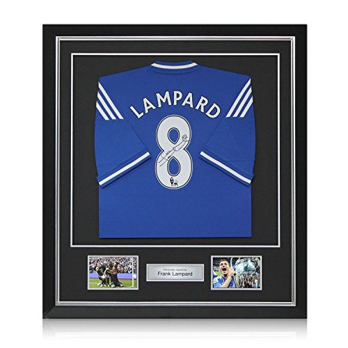 Deluxe Framed Frank Lampard Signed Chelsea 2013-14 Jersey | Autographed Soccer Shirt
