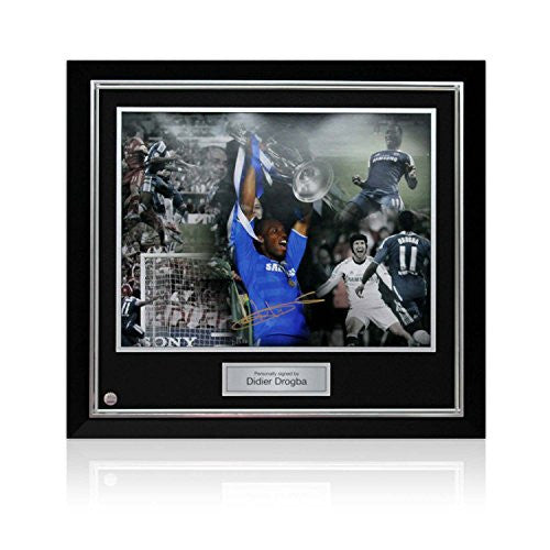 Deluxe Framed Didier Drogba Signed Chelsea Football Photo: Champions League Hero (Large)