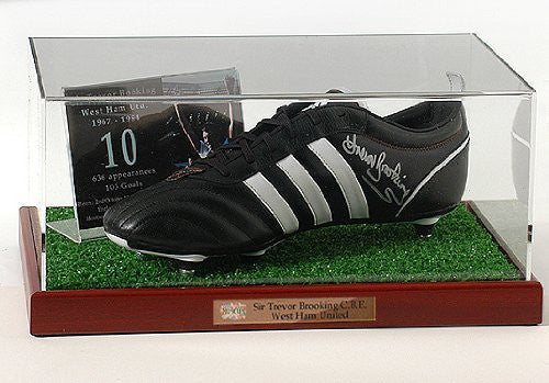 Trevor Brooking hand signed West Ham United Football boot presentation (LOT538)