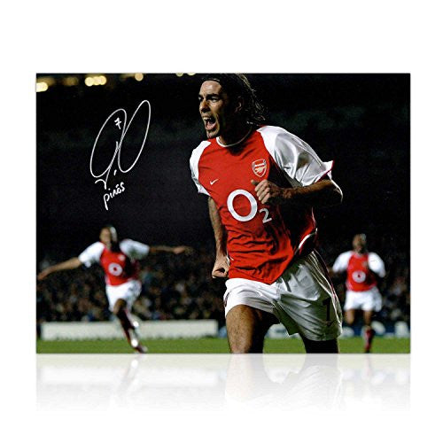 Robert Pires Signed Arsenal Soccer Photo: Goal Celebration