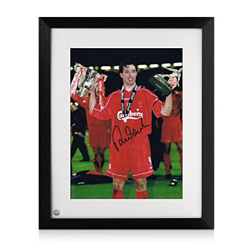 Framed Robbie Fowler Signed Liverpool FC Photo: Worthington Cup MOM