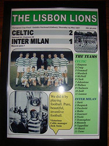 Celtic 2 Inter Milan 1 - 1967 European Cup final - Lisbon Lions - Framed Print