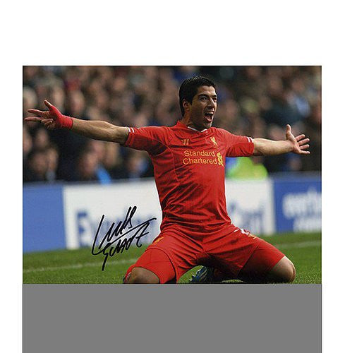 Luis Suarez Autographed Liverpool 16x12 Photo: Goal vs Everton - Authentic Signed Autograph