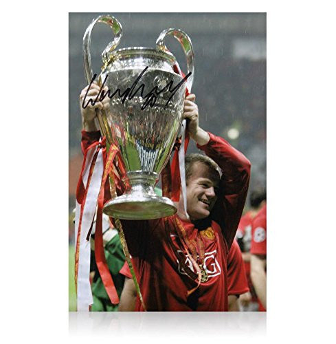 Wayne Rooney Signed Photo - Champions League Trophy