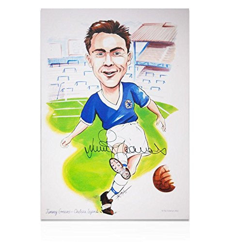 Jimmy Greaves Autographed Picture - Caricature Print Legend
