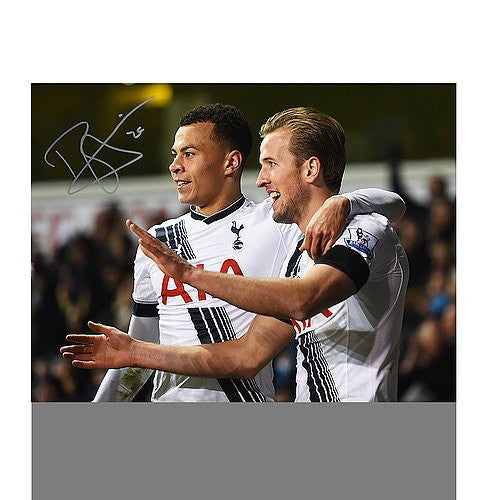 Dele Alli Autographed Tottenham Hotpsur 16x12 Photo: Celebrating With Harry Kane