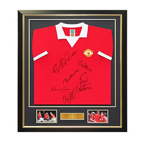 Manchester United Jersey Signed By Cristiano Ronaldo, Bobby Charlton, Eric Cantona, Denis Law, Bryan Robson and Ryan Giggs. In Deluxe Black Frame With Gold Inlay
