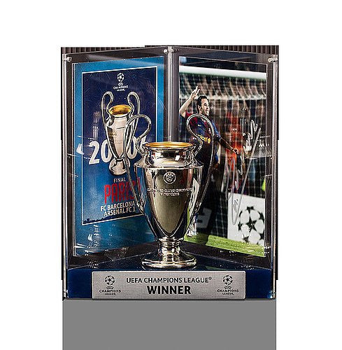 Andres Iniesta Official UEFA Champions League Autographed Barcelona 3D Mini Replica Trophy: 2006 Winner - ICONS Authentic Signed Autograph