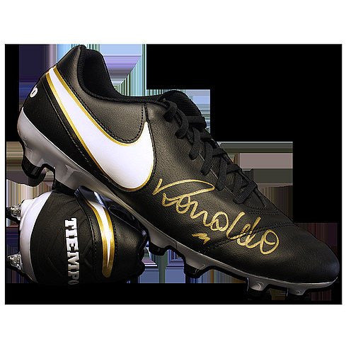 Ronaldo Autographed Black Nike Tiempo Boot - ICONS Authentic Signed Autograph