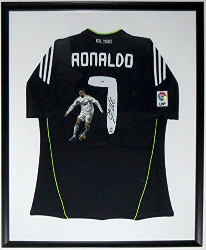 Cristiano Ronaldo Signed Adidas Real Madrid L Jersey - Authenticated by PSA DNA COA - Custom Framed & Painted 34x42