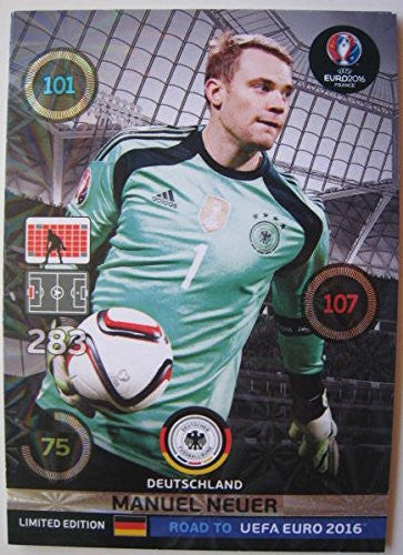 MANUEL NEUER 2016 Road to Euro France Adrenalyn XL Limited edition card RARE By Panini