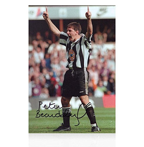 Autographed Peter Beardsley Photo - Celebration - Autographed Soccer Photos