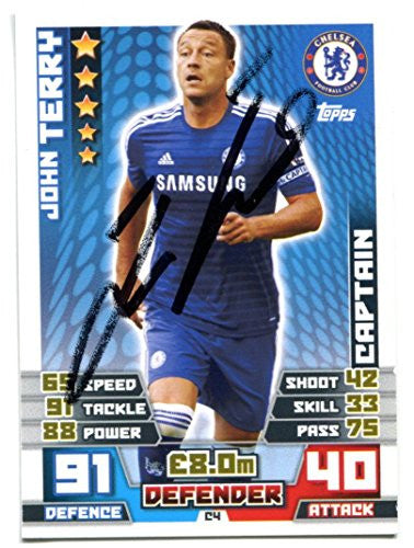 John Terry Signed Topps Match Attax Soccer Trading Card