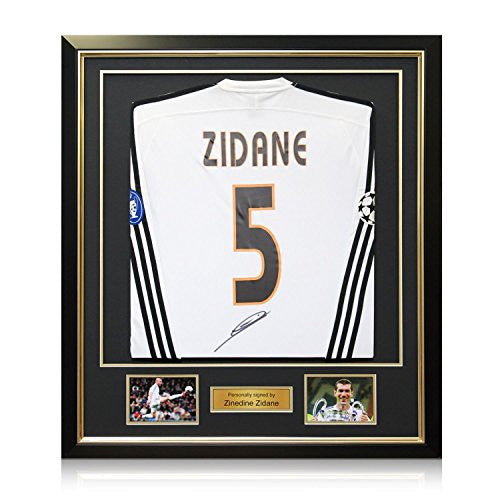 Zinedine Zidane Signed Real Madrid 2003-04 Football Shirt With Long Sleeves And Champions League Starball. In Deluxe Black Frame With Gold Inlay