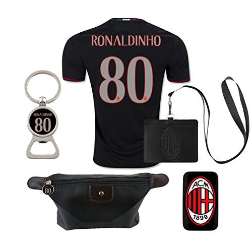 #80 Ronaldinho (6 in 1 Combo) A.C. Milan Home Jersey 2016-17