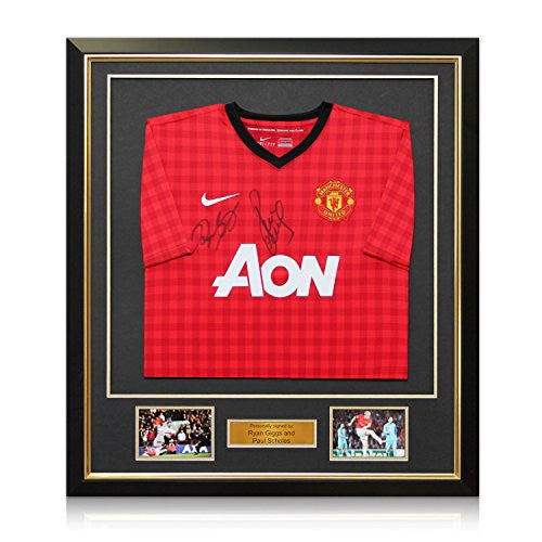 Ryan Giggs And Paul Scholes Signed 2012-13 Manchester United Soccer Jersey In Deluxe Black Frame With Gold Inlay