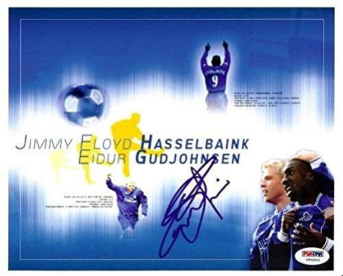 Eidur Gudjohnsen Signed Photograph - Authentic 8x10 Barcelona - PSA/DNA Certified - Autographed Soccer Photos