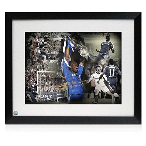 Standard Framed Didier Drogba Signed Chelsea Football Photo: Champions League Hero (Large)