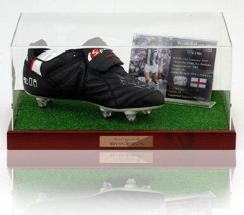 Bryan Robson hand signed WBA Football boot presentation (LOT591)